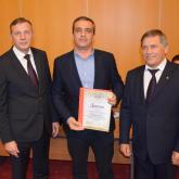"""Davit Alugishvili Director of the plant receives the diploma of the republican contest """"Best Products of Bashkortostan""""."""