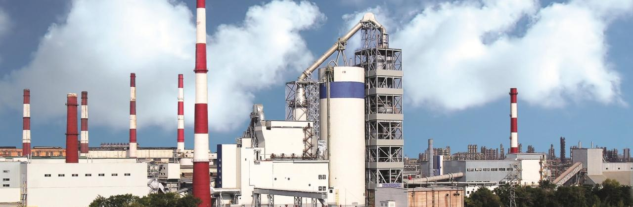 Panorama of cement plant in Sterlitamak.