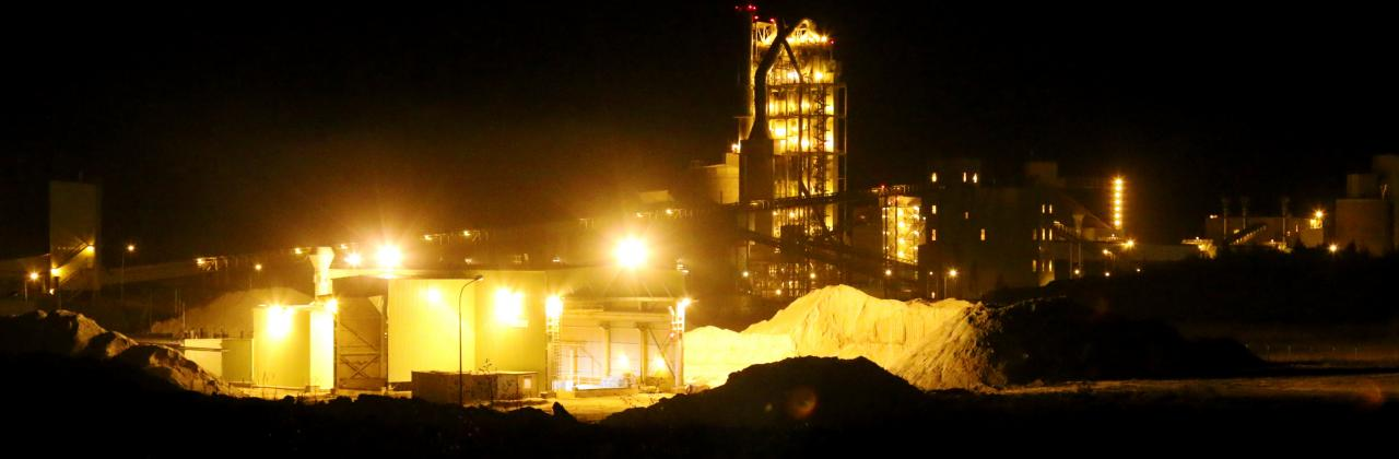 Cement plant at night time.
